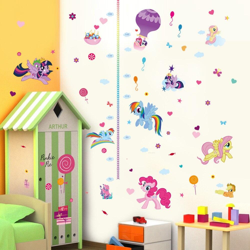 Cartoon Children height measure growth chart wall sticker for kids room nursery girl bedroom art