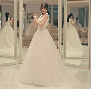 New Arrival Elegant Wedding Dresses with Appliques Glamorous V-Neck White/Ivory A-Line Princess Formal Dress Fashion Bridal Gown