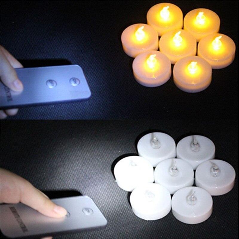 Paquete de 6 vela electrónica LED parpadeante luz resplandor ámbar con Control remoto LED vela fiesta sin llama