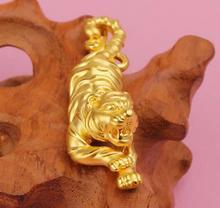 Pure 999 24k Solid Yellow Gold ferocious Tiger Men's Pendant 3.35g