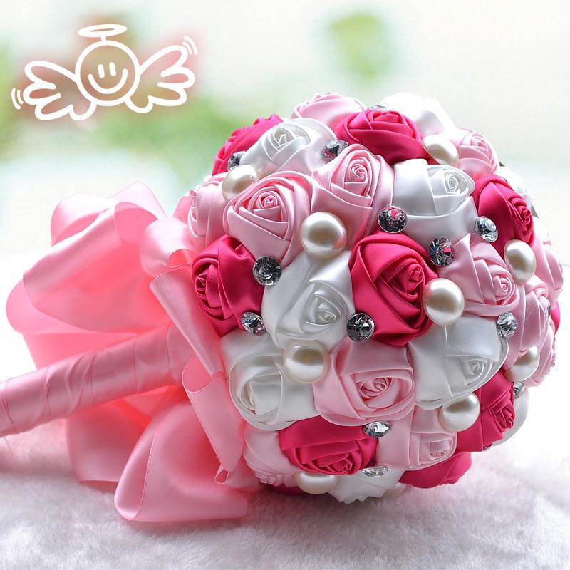 ورود من الحرير الصناعي ، عالية الجودة ، أنيقة ، صناعة يدوية ، للعروس ، الزفاف ، باقات الزفاف