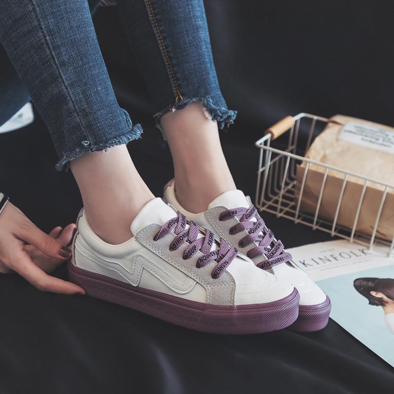 Dropshipping 2019 zapatos casuales de Mujer con cordones de colores mezclados Zapatillas de Mujer