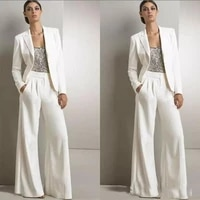 white three pieces mother of the bride dress with jackets pant suits long sleeves sequin outfit wedding guest dress plus size uk
