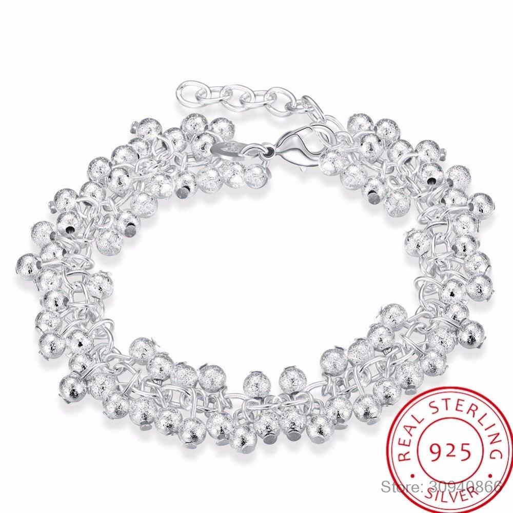 Женские изящные украшения LEKANI, из стерлингового серебра 925 пробы, 19 см, с цепочкой, песочные, легкие, с бусинами, винограда, амулеты браслет с подвесками
