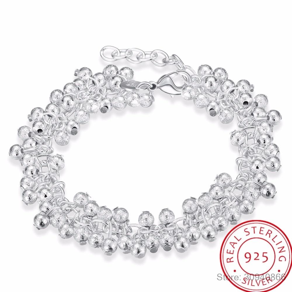 LEKANI vrouwen Fijne Sieraden 925 Sterling Zilver 19 cm Ketens Zand Licht Kralen Druif Charms Armband Pulseiras de prata