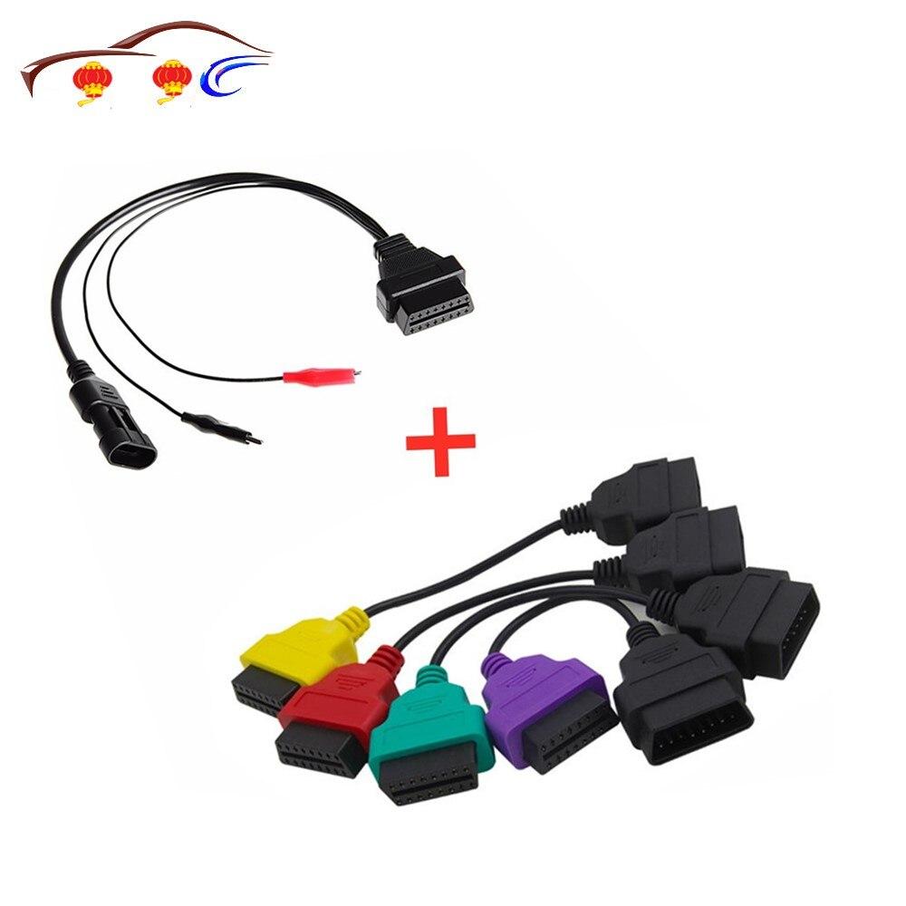4PCS/lot fiatecuscan OBD2 Connector plus 16Pin OBD2 to 3Pin OBD1 Diagnostic Adapter Connector Cable For Fiat Alpha Romeo