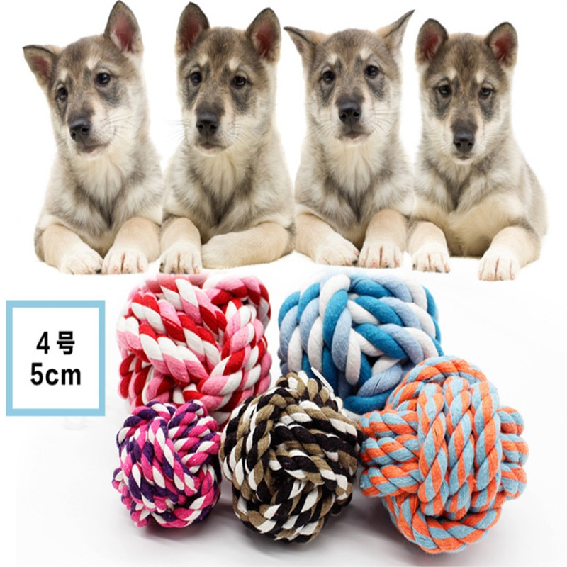 Купить с кэшбэком 5 CM Dog Toys Ball Funny Cotton rope Dog Toy Baby Dog Cat Toys  Rainbow Durable Cotton rope Play Balls For Pets Toys