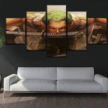 Casa decoração impressões pintura fotos arte da parede 5 peças animação uma peça modular lona hd poster moderno cabeceira fundo
