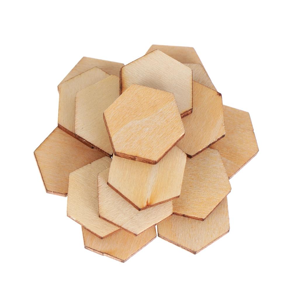 200pcs/pack 3 size New Wood DIY Laser Cut Embellishment Craft Decor Hexagonal Shape Ornaments Wedding Wood Craft Decor