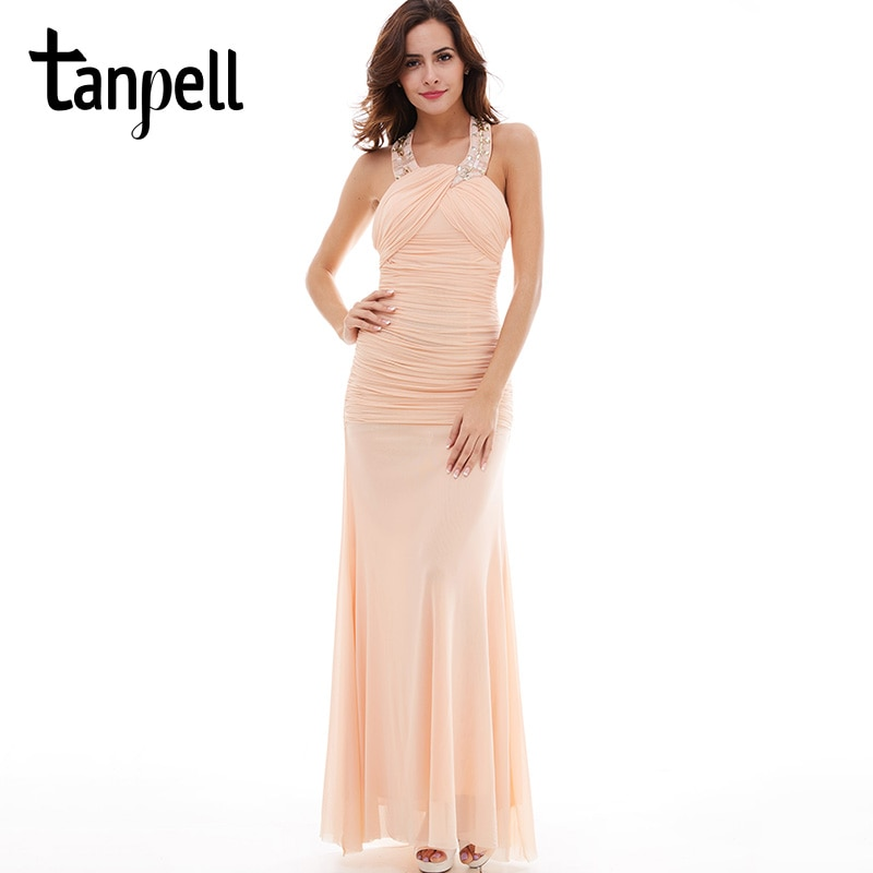Tanpell-فستان سهرة طويل مطرز باللؤلؤ ، ثوب مسائي ، لون وردي ، بدون أكمام ، مستقيم ، طول الأرض
