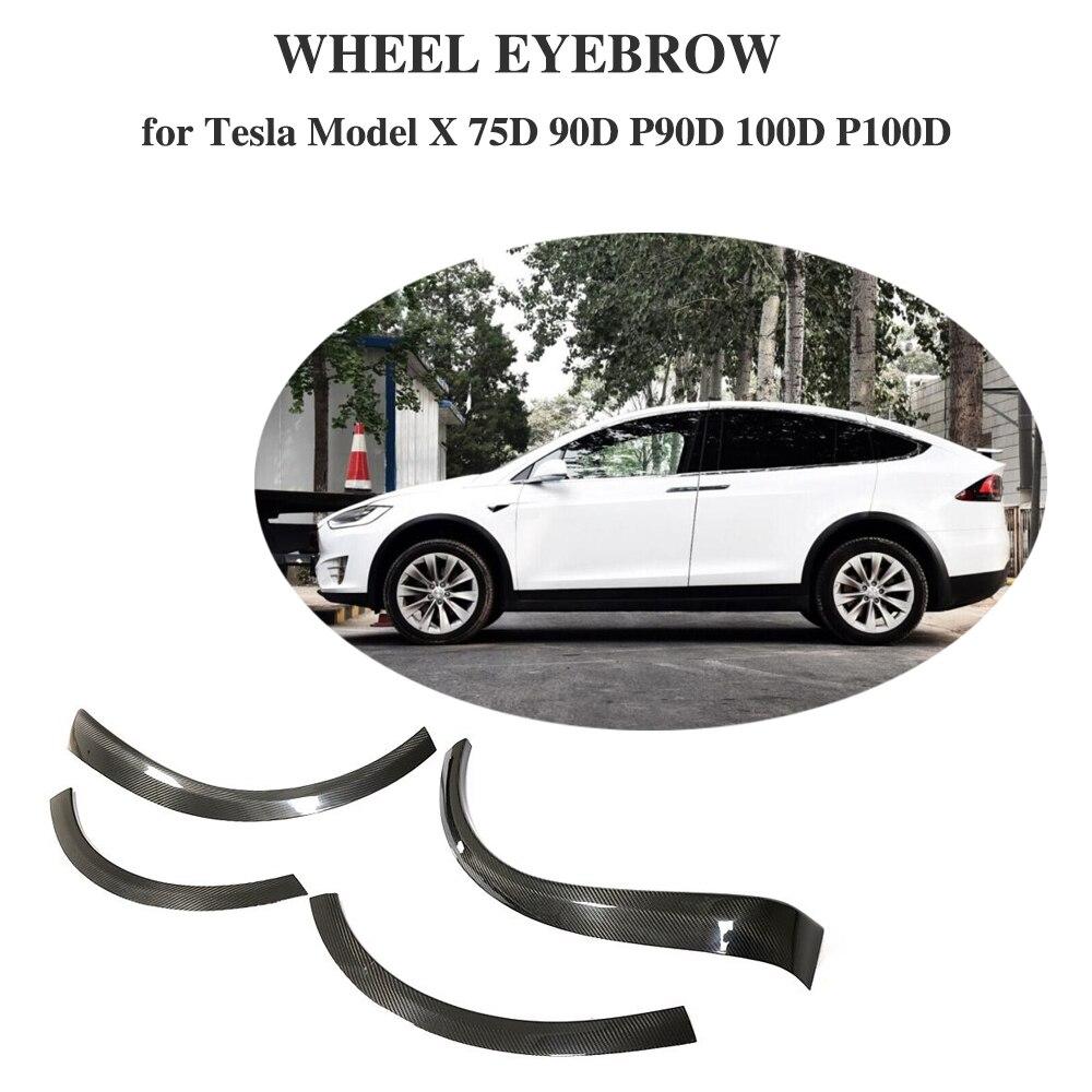 Para Tesla model X 2016-2018 fibra De Carbono 4 pcs Tira Arco Roda Sobrancelha Fender Flares Lama Respingo de Lama abas