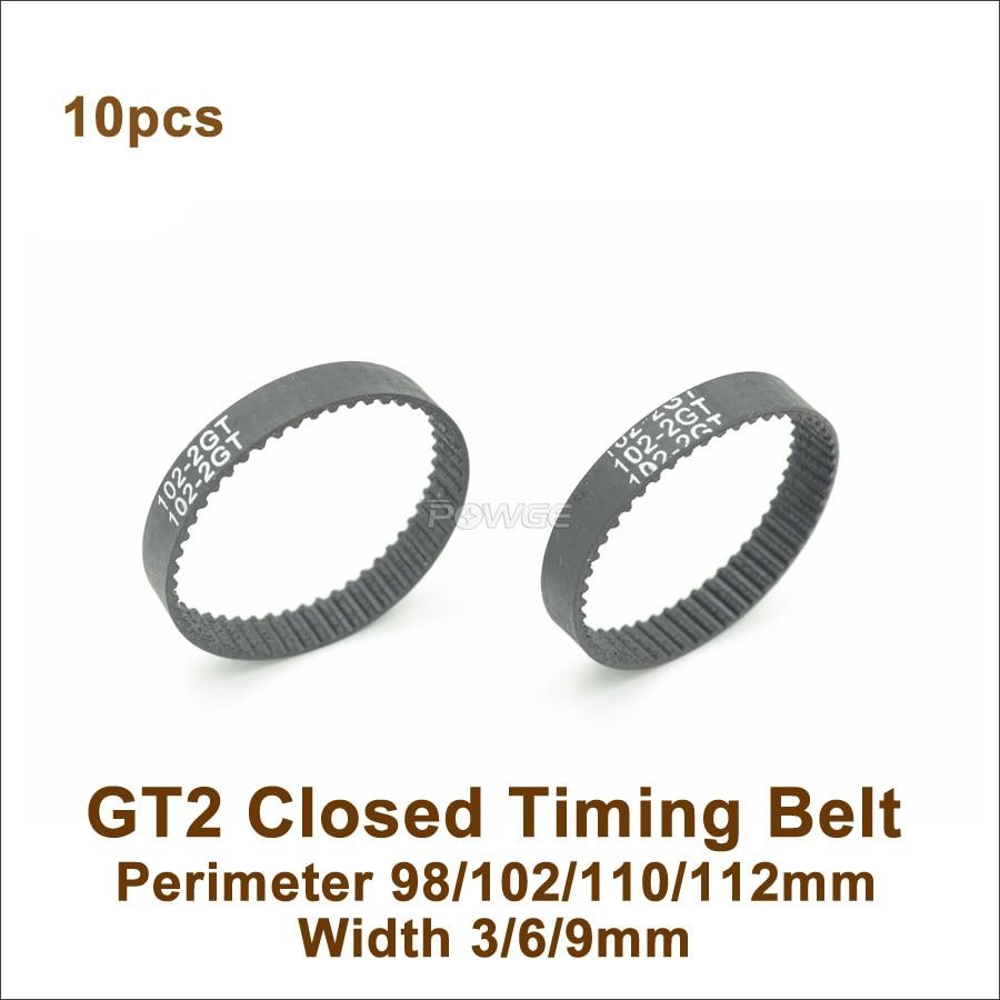 POWGE 10pcs 98, 100, 102, 110, 112 GT2 Correa W = 3/6/9/15mm dientes = 49/50 a/51/55/56/2GT Closed-Loop correa síncrona de 98-2GT 110-2GT