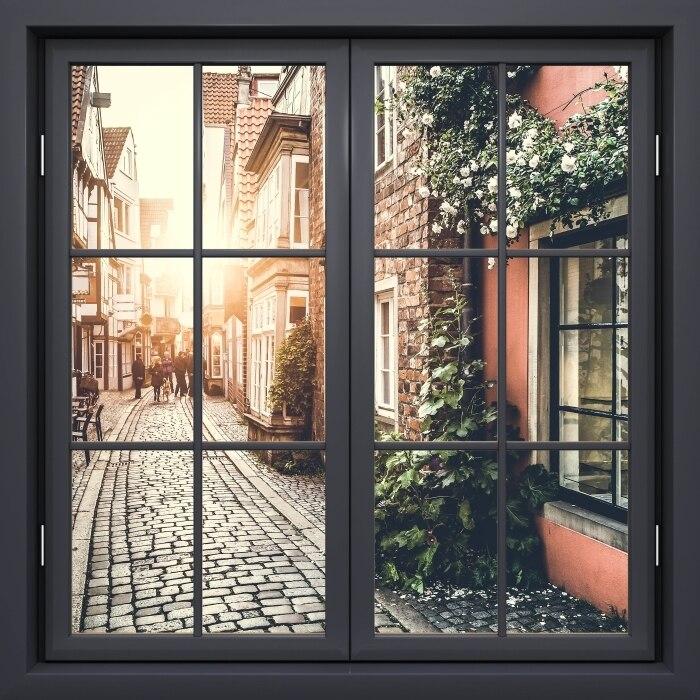 3D ventana negra caliente paisaje de la calle antiguo marco de la ventana Mural de vinilo dormitorio pared calcomanías pegatinas pegatina para pared de Navidad