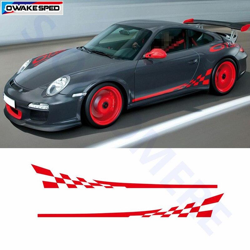 Etiqueta engomada de la falda del lado de la Puerta de los gráficos de la bandera de carreras calcomanías del vinilo del cuerpo del coche para Porsche 911 997 accesorios exteriores etiqueta impermeable