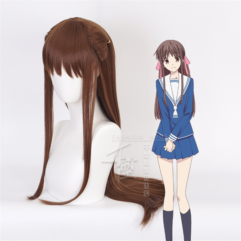 FRUITS BASKET Tohru Honda Cosplay Costume Wigs Long Straight Brown Party Hair Props Lolita girl Hall