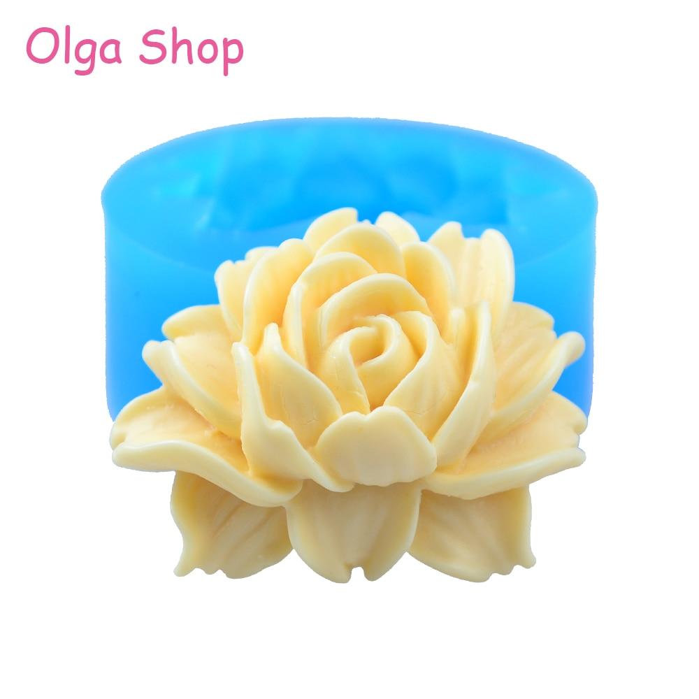 HYL047 41,9mm molde de silicona con forma de Rosa-Cupcake Topper boda decoración de la torta del polímero de resina collar de arcilla broche moldes