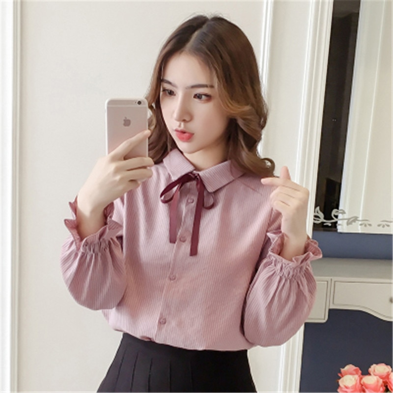 2020 outono nova gravata borboleta polo colarinho camisa de manga comprida camisa feminina solto inferior camisa casual maré
