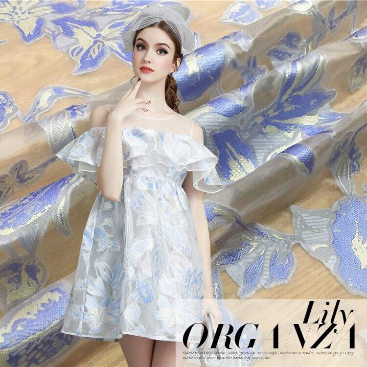 Temperamento elegante lily estampado jacquard hilo de organza tela moda vestido jacquard, tela al por mayor de tela de jacquard