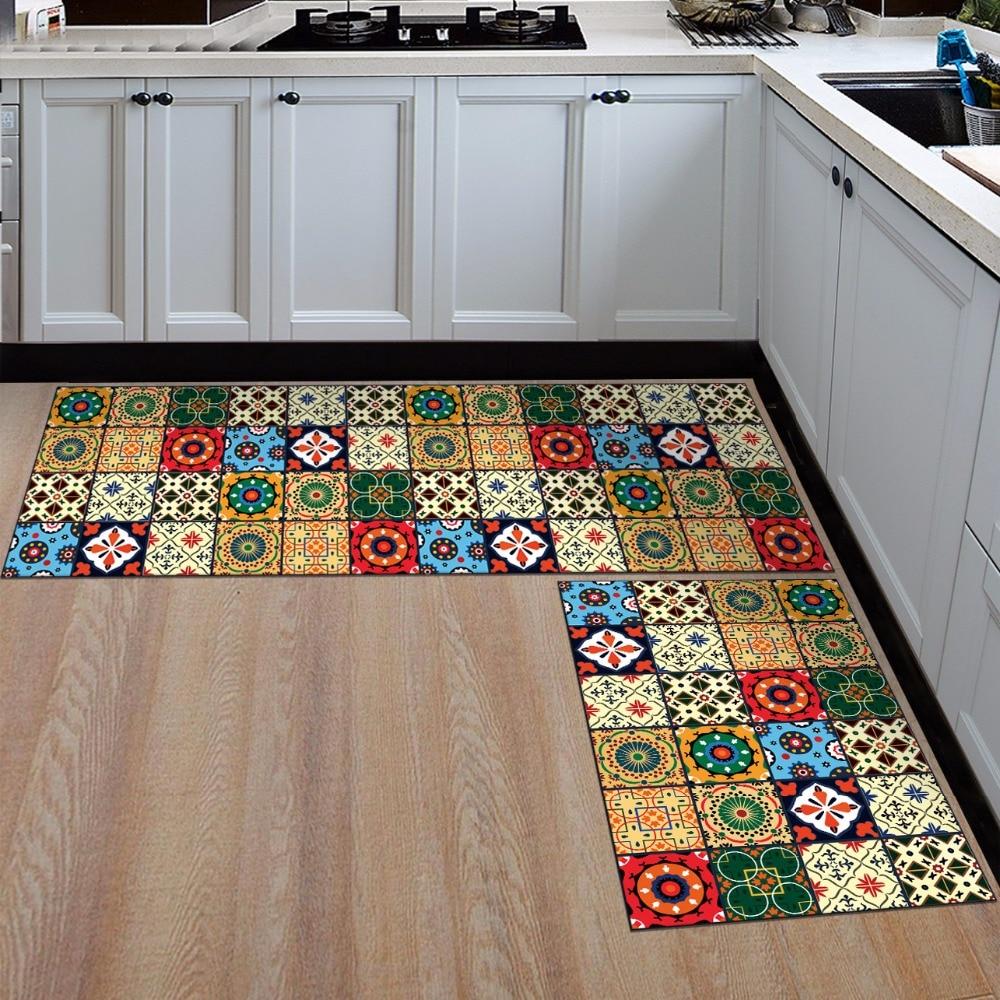 Nordic style Kitchen strip anti-slip mat Bedroom bedside carpet Bathroom absorbent mat Bohemia colorful printed soft rug