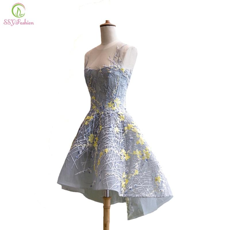 SSYFashion-فستان كوكتيل من الدانتيل الرمادي ، فستان سهرة قصير ، نمط غير متماثل ، بدون أكمام ، أنيق ، لمأدبة الزفاف ، حفلة موسيقية