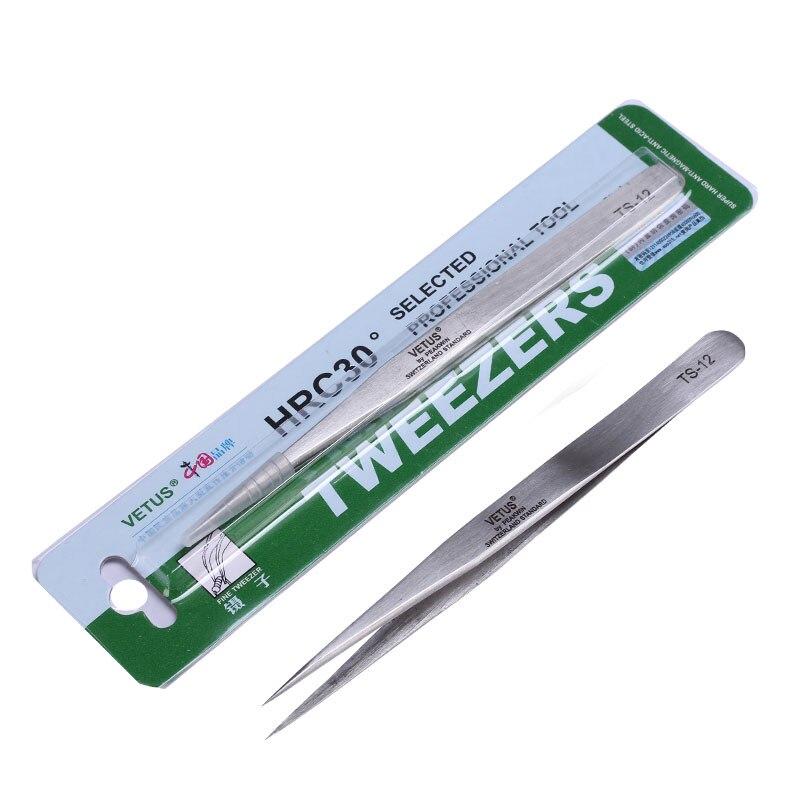 Pinzas Vetus de alta calidad, Pinzas de precisión de acero inoxidable, Herramientas manuales, Herramientas TS-12