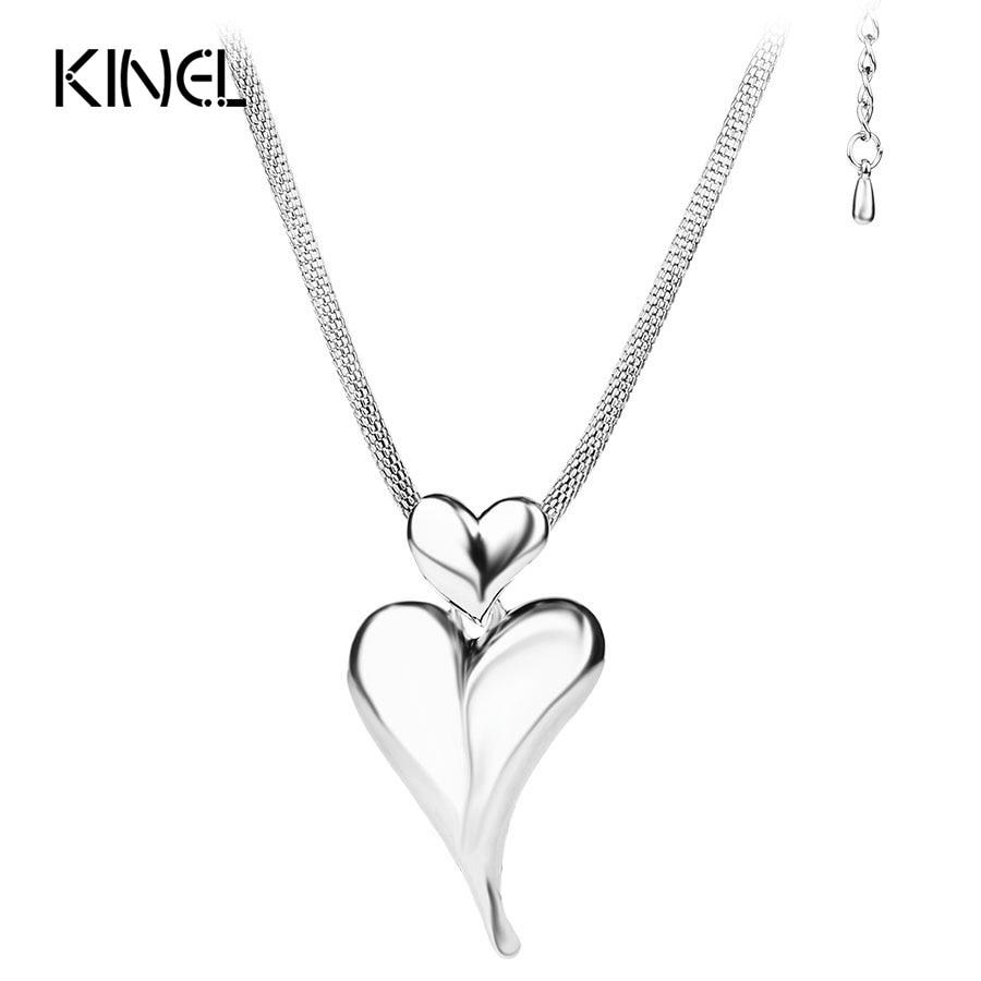 Nuevo amor corazón Gran Collar fornido de Color plata collares de moda para las mujeres 2016 de alta calidad de regalo de Navidad