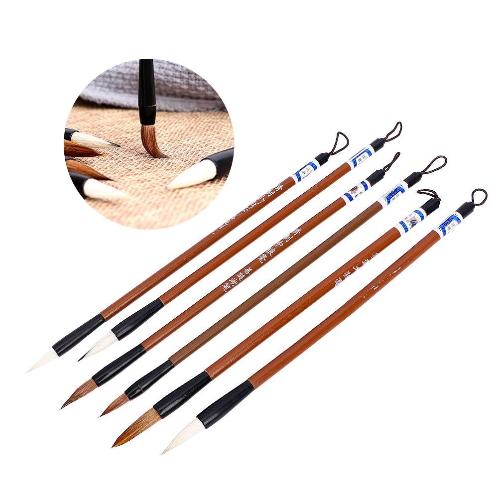 1 conjunto tradicional chinês pincéis de caligrafia nuvens brancas bambu lobo escova de escrita de cabelo caligrafia pintura pincéis de escrita