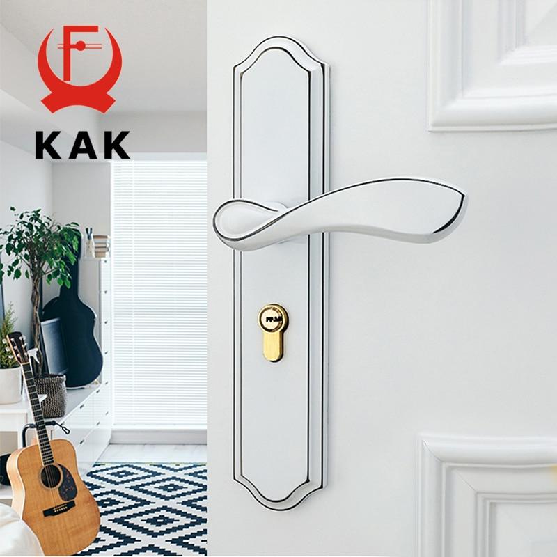 KAK Fashion Mute Room Door Lock Zinc Alloy Interior Door Lock Handles European style Anti-theft Gate Lock Furniture Hardware