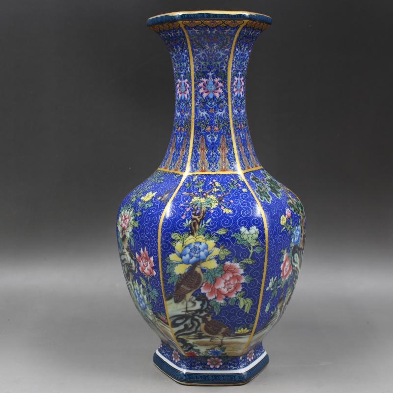 Jingdezhen ceramic enamel hexagon porcelain antique vase flower arranging living room Chinese household decoration TV cabinet