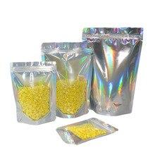 Gratis verzending 100 stuks laser Hologrammen kleur plastic Stand Up zip lock Bag pouch folie zakken holografische zilver zip bag
