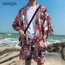 Japanese Men Kimono Jacket Cartoon Printed Cardigan 2019 Summer Mens Three Quarter Sleeve Casual Streetwear Fashion Thin Outwear
