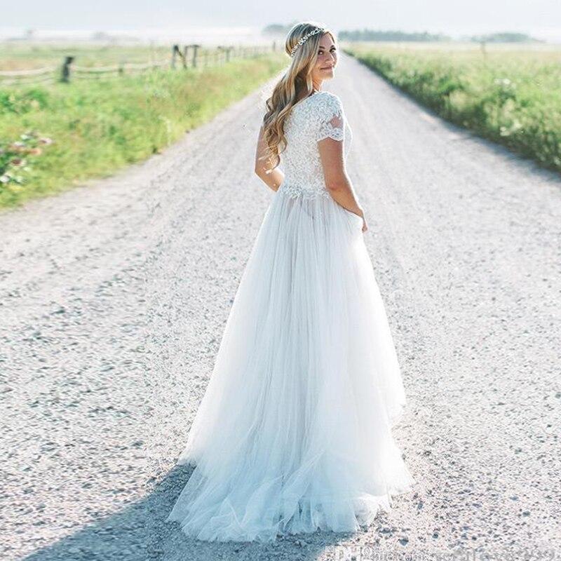 Купить с кэшбэком LORIE Wedding Dress Short Sleeves Scoop Lace Top A Line Tulle Skirt Beach Bride Dress Boho Wedding Gown Free Shipping 2019