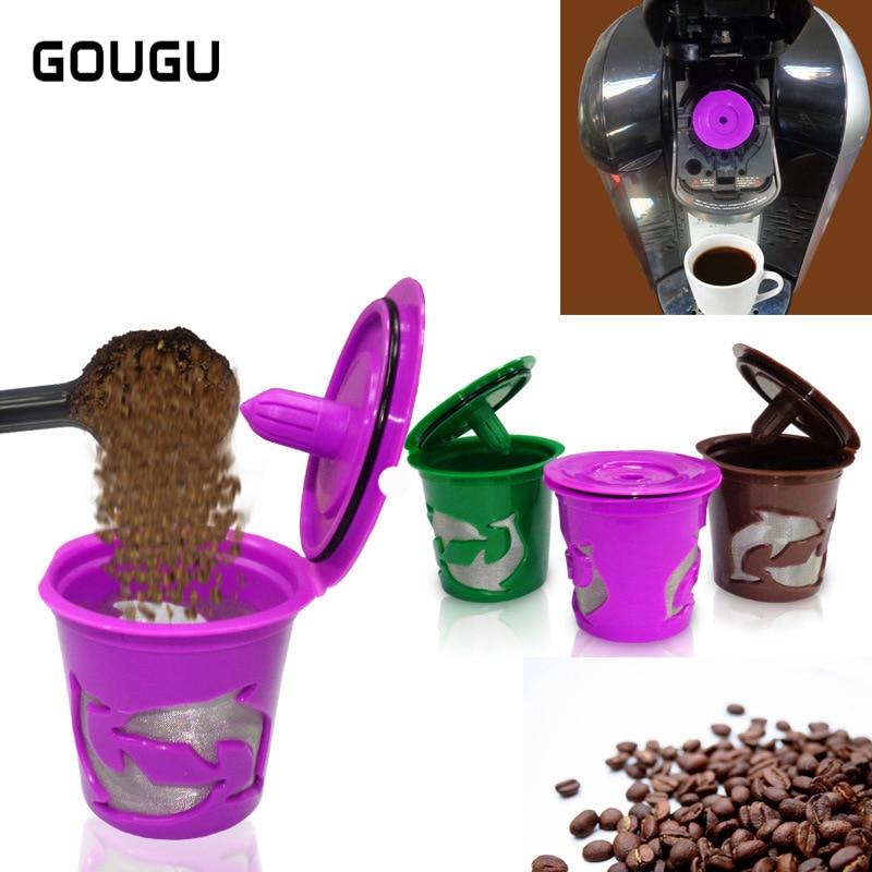 4 colores taza GOUGU K Cápsula de café reutilizable Acero inoxidable Keuring cesta de filtro de café recargable delfín PP Material 1 PC