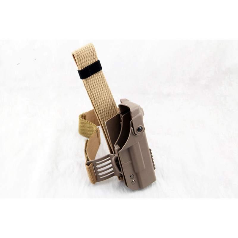 Nova Chegada Coldre GLOCK Duplo Protective Combate Militar Tático Glock Coldre de Perna Ajustável Black Belt TAN Cor