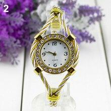 Montre-Bracelet à Quartz Bracelet en acier Bracelet à main montres filles beau cadeau doré avec strass nouveau Design 5D7H 6YKN
