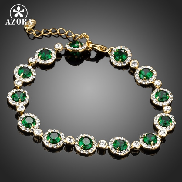 AZORA Glam Gold Farbe 13 stücke Grün Top Qualität Runde Zirkonia Verbunden Armband TS0065