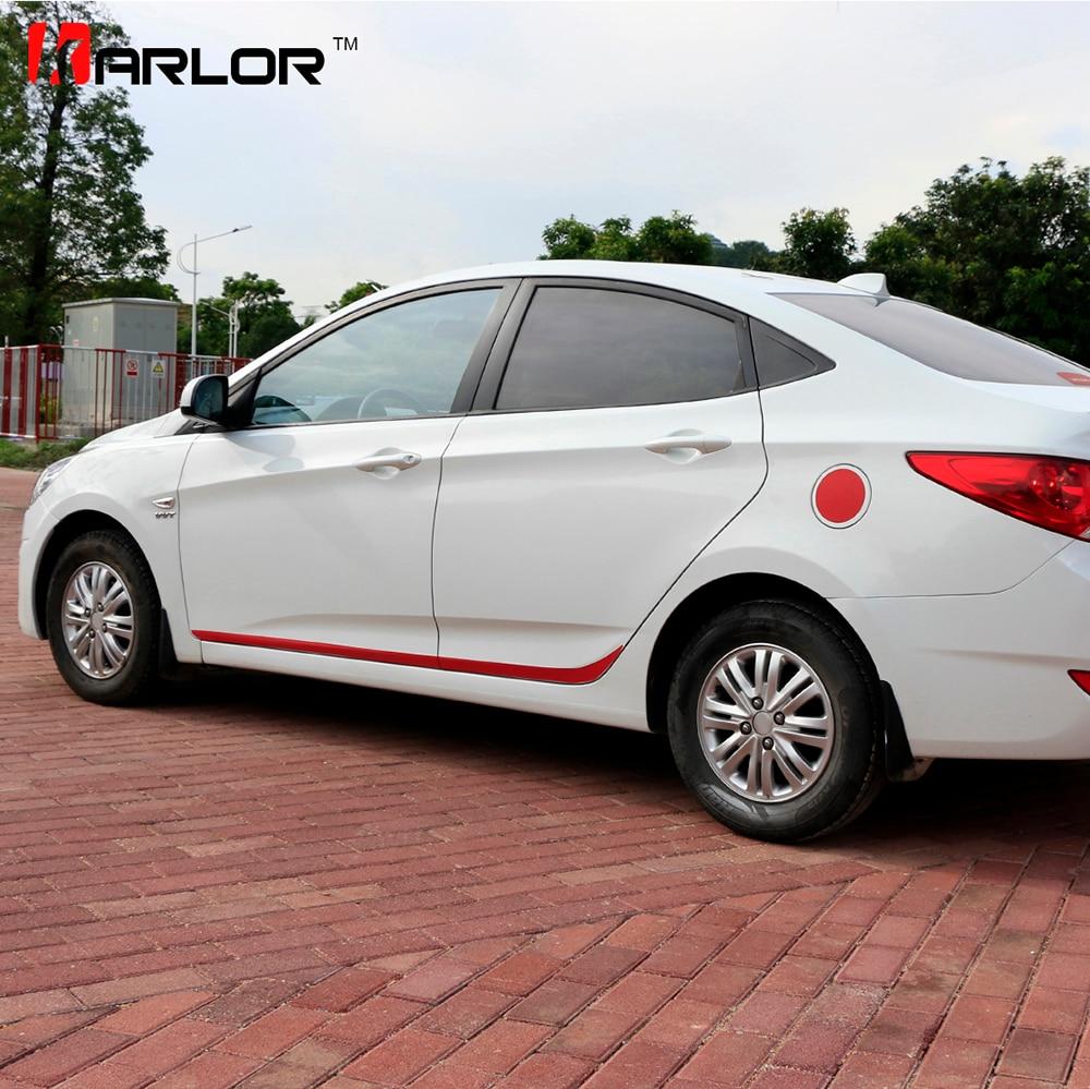 Faldón lateral para puerta de coche, faldón de fibra de carbono rayado, calcomanía, estilo de coche para Hyundai Solaris Verna, accesorios