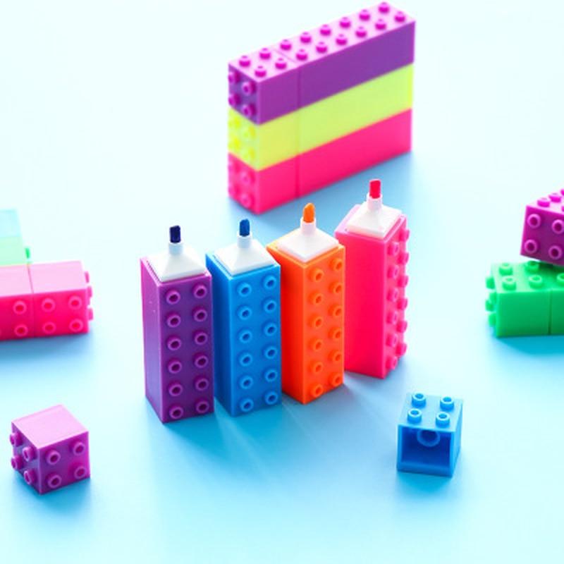 6 unids/set de lápices de acuarela de bloques de construcción, lindos artículos de papelería, marcadores permanentes, suministros de arte, pluma de pintura, marcadores metálicos, plumas de grafiti