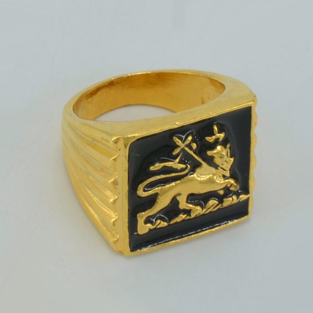 Anniyo Ethiopian Lion Ring Women Men African Lion Gold Color Eritrean Jewelry Lion of Judah #049306