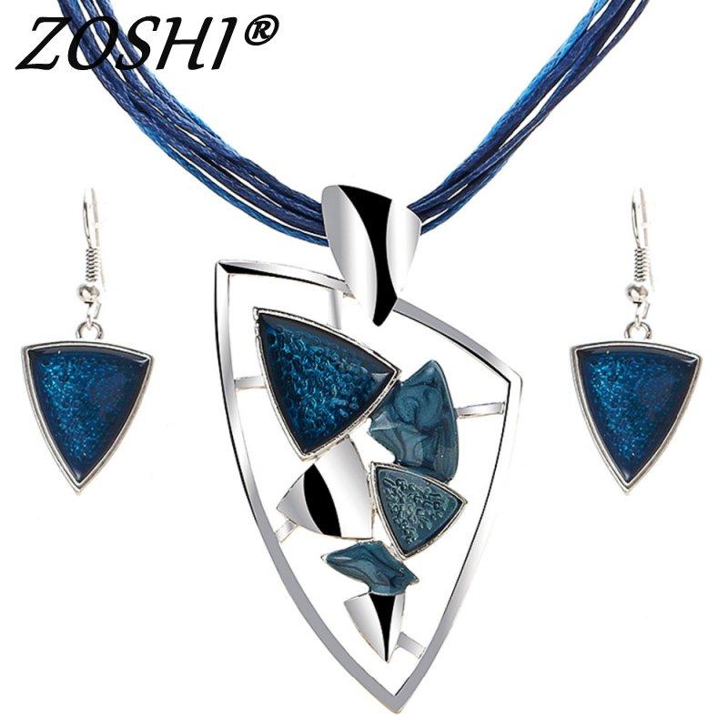 ZOSHI conjuntos de joyería de moda de cuero de cuerda Chian Gem colgantes y collares pendientes de gota para las mujeres conjunto de boda Boho conjuntos de joyería