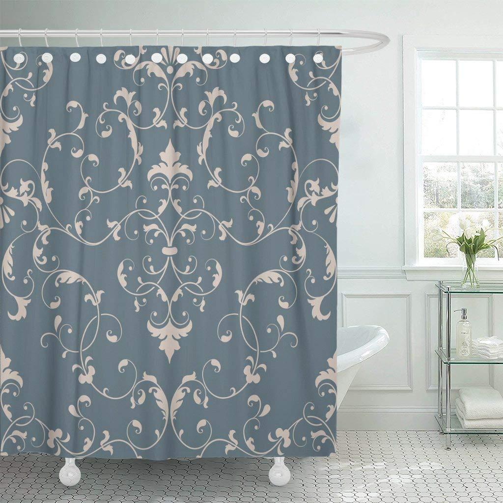 Shower Curtain Brown Royal Damask Elegant Luxury for and Vintage Floral Flower Chocolate Baroque Flora Bathroom Decor