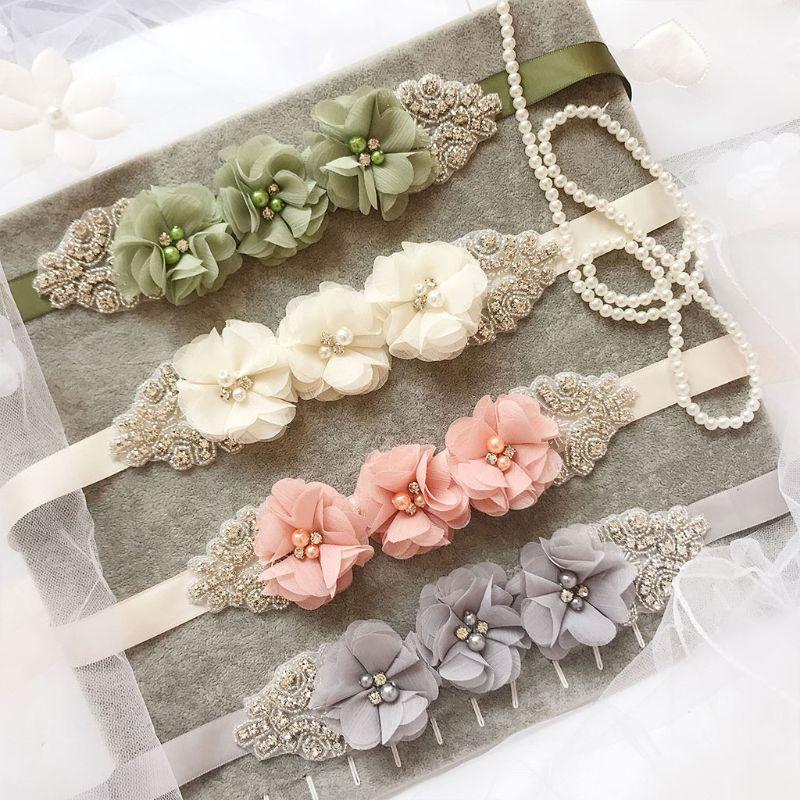 270x2cm Womens Elegant Three Flower Sash Rhinestone Beaded Waistband Bridal Ribbon Cummerbunds Weddi