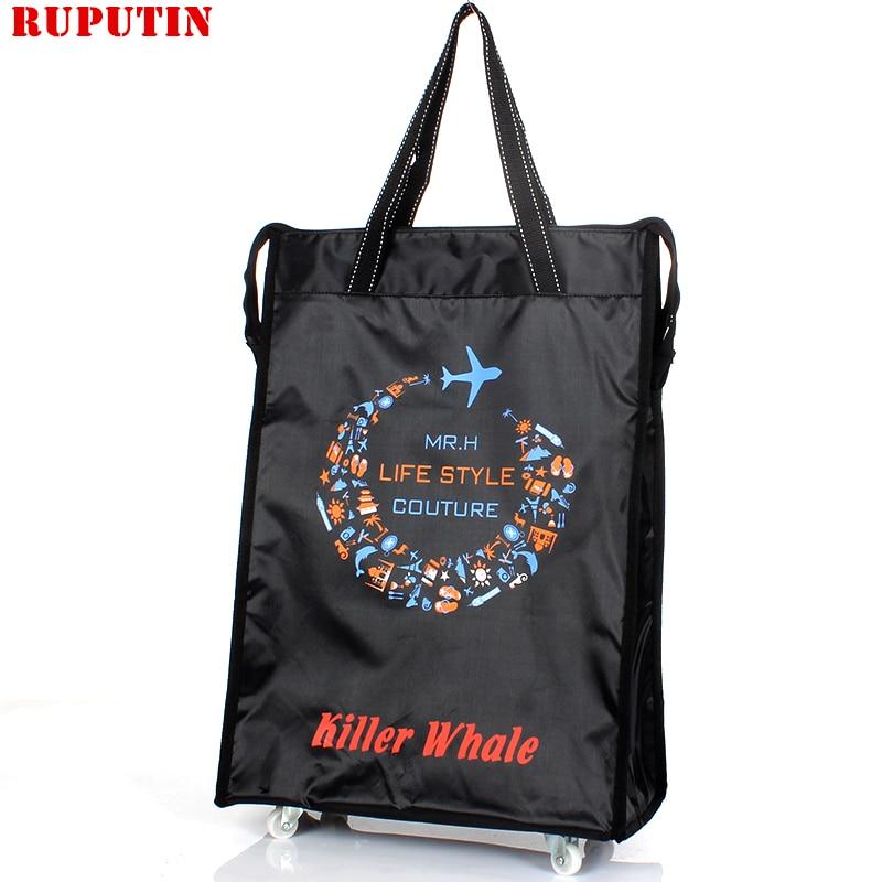 RUPUTIN Women Men Travel Bag Collapsible Ladies Shopping Grocery Puller Trolley Wheel Portable Storage Cart