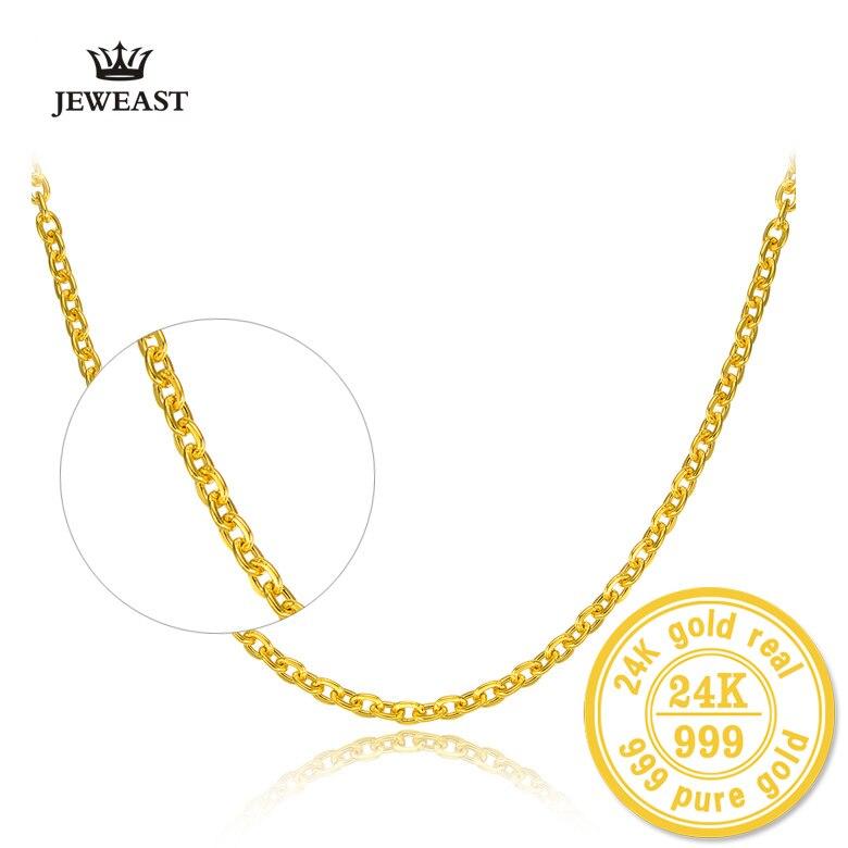 HMSS 24K collar de oro puro Cruz cadena o-forma palabra todo-fósforo mujeres palabras clavícula joyería fina oro sólido collares de lujo
