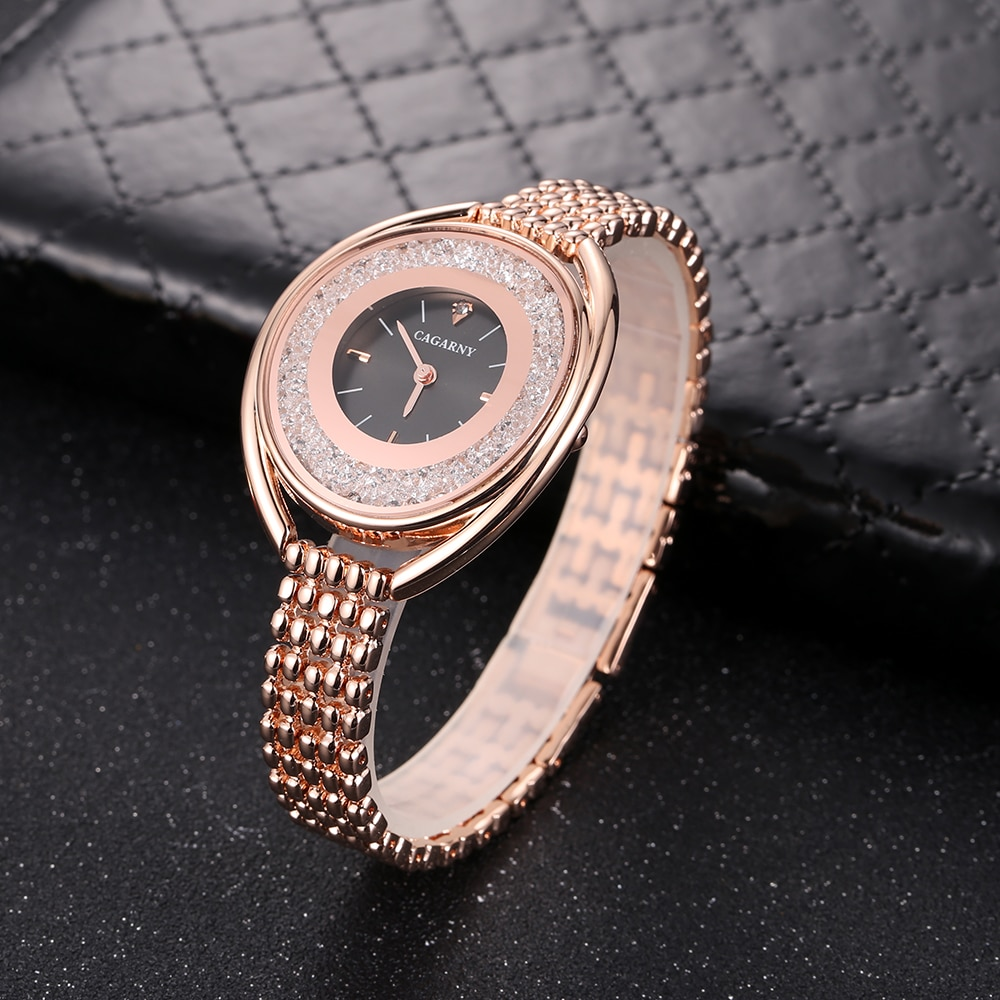 Luxury Brand Cagarny Quartz Watch For Women Fashion Ladeis Wristwatches Rhinestone Dial Creative Steel Bracelet Women's Watches enlarge