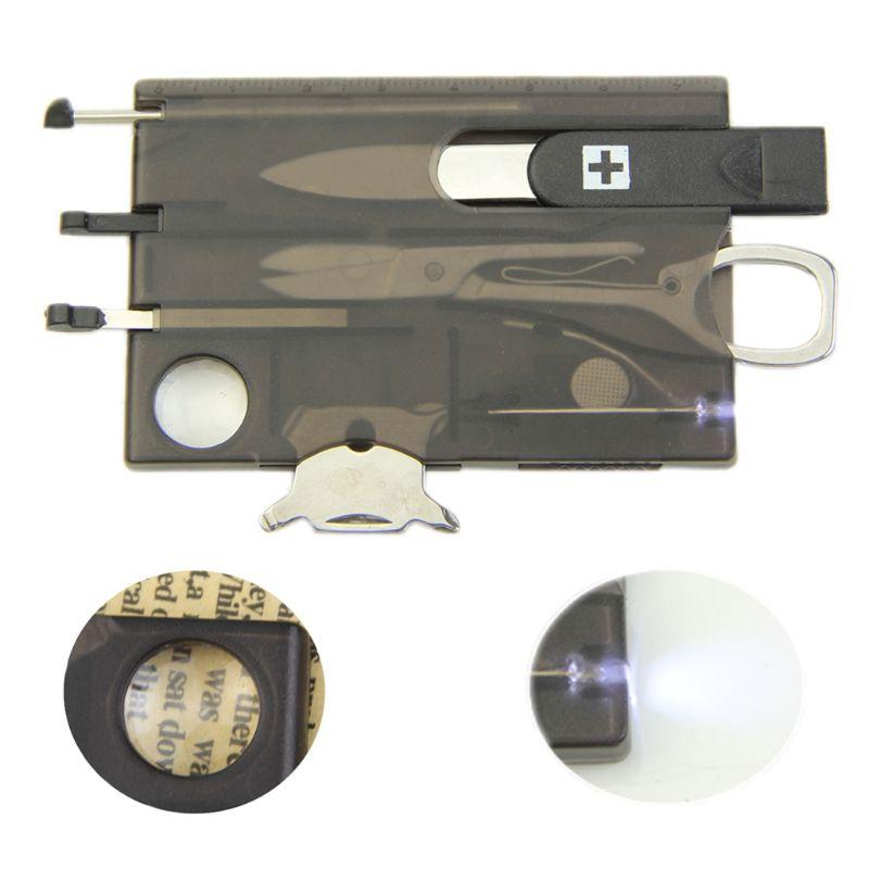 Práctica herramienta multifuncional de supervivencia para campamento, herramienta para tarjetas, cuchillo, lupa con luz LED, nuevo negro