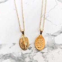Vierge marie collier délicat or médaillon collier mère marie pendentif sur cou tour de cou religieux catholique cadeau bijoux
