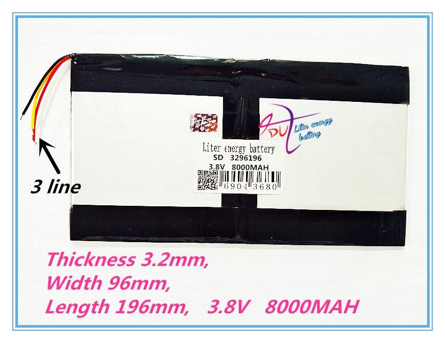 3 draad 3296196 3.8 V 8000 MAH Voor Teclast X98 air 3G P98 3G Tablet PC Batterij 329698*2X98X98 AIR p98 X98 P98HD P98