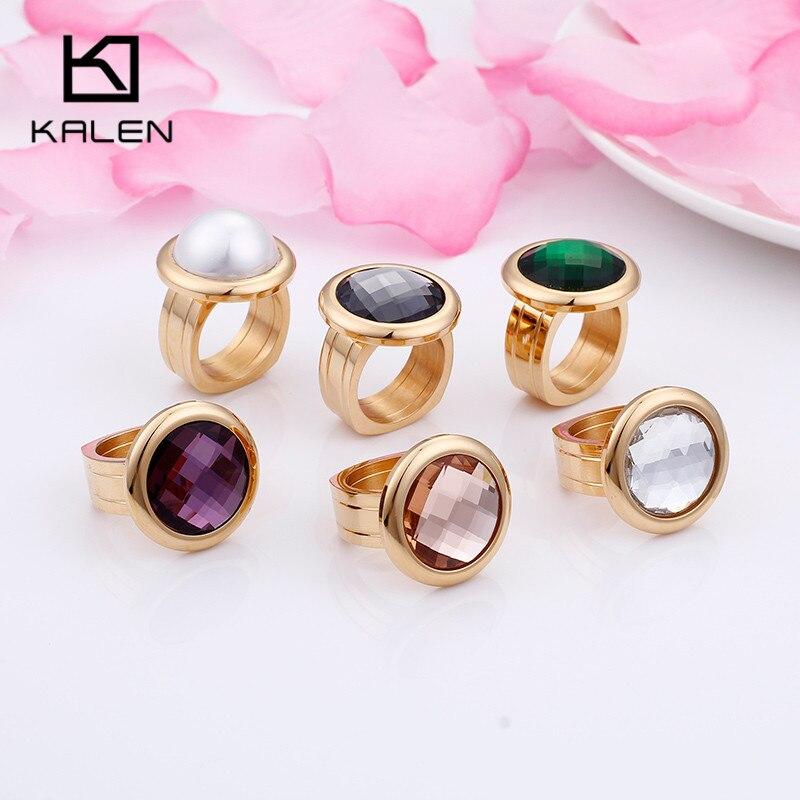 KALEN, 1 штука, нержавеющая сталь, болгарийские золотые кольца для женщин, богемные цветные каменные кольца на палец, Размер 6 7 8 9, дешевые кольц...