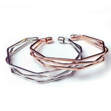 SHUANGR Fashionable and popular minimalistic bracelets three wire three  dimensional irregular bracelet open cuff Bangle